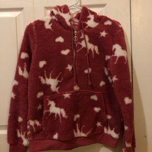 Fuzzy pink sweatshirt